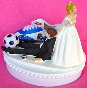 Real Madrid C.F. wedding cake topper soccer futbol funny bride drags groom humorous groom's cake top sports fans reception Fun Wedding Things gift idea