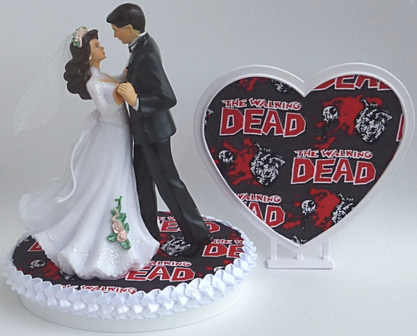 The Walking Dead wedding cake topper FunWeddingThings.com zombies bride groom funny humorous