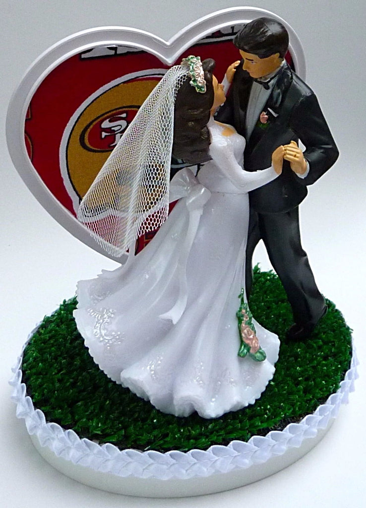 Green Turf Cake Topper Football Fun Wedding Things San Francisco 49ers Couple Dancing Bride Groom