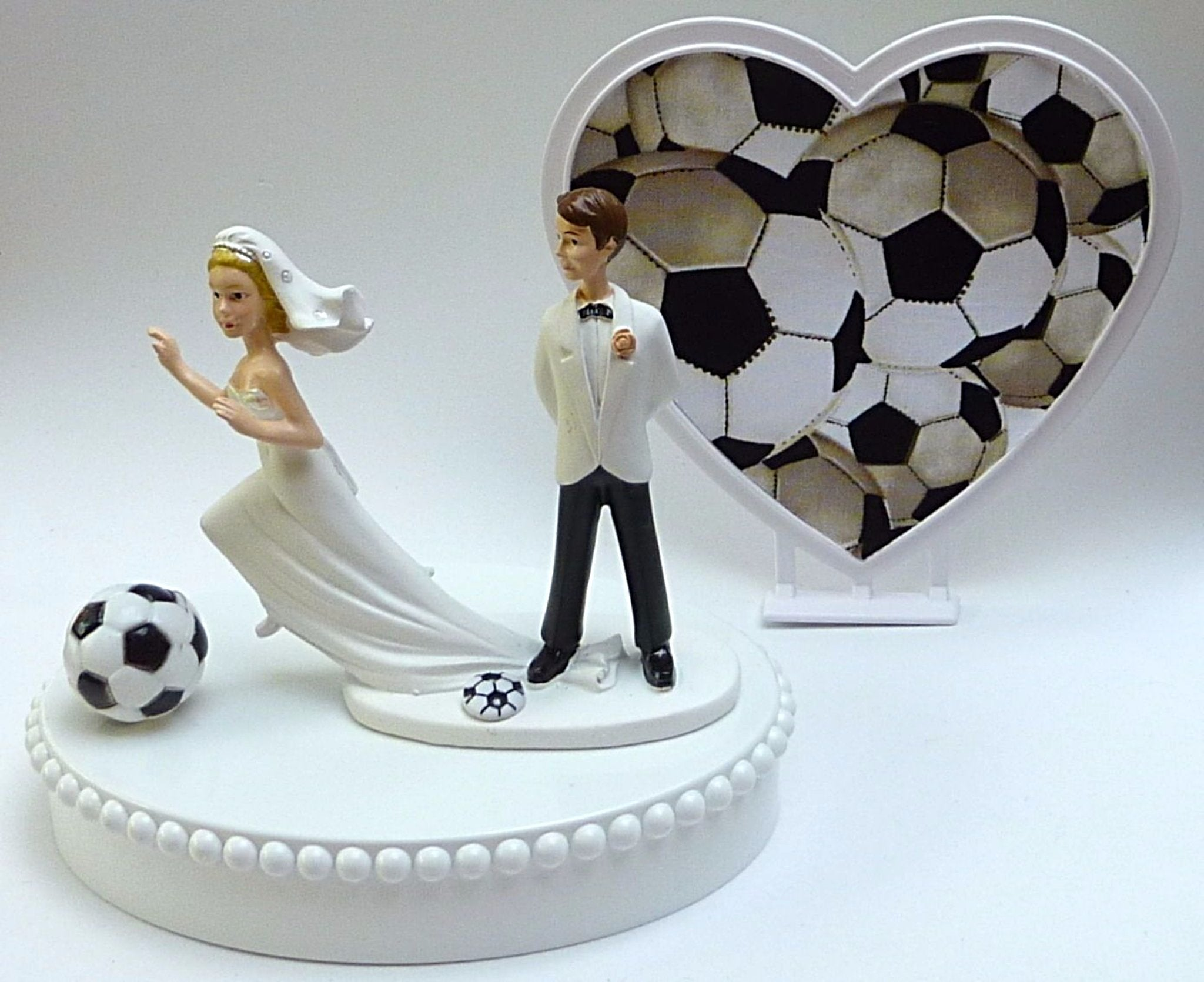 Fun Wedding Things soccer cake topper wedding bride and groom humorous funny cake top