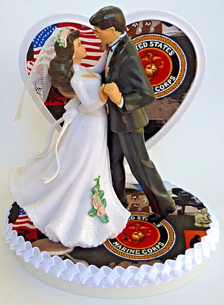 Marine Corps wedding cake topper Fun Wedding Things bride groom dancing enlisted service military USMC heart pretty reception shower gift