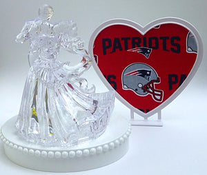 NE Patriots cake topper Fun Wedding Things NFL football sports fans pretty clear bride groom dancing