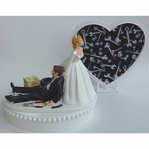 Mechanic wedding cake topper tools grease monkey auto FunWeddingThings.com shop garage humorous bride dragging groom