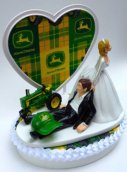 Tractor wedding cake topper John Deere Fun Wedding Things humorous funny bride groom gift reception