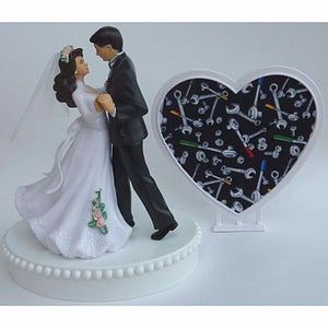 Grease monkey wedding cake topper Fun Wedding Things mechanic auto car bride groom pretty heart fun tools wrench shop