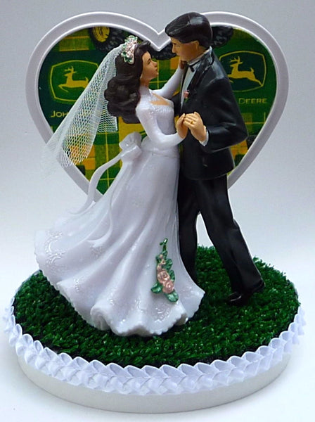 John Deere cake topper farmer wedding cake top farming tractor farm tools bride groom's cake top reception gift heart pretty dance