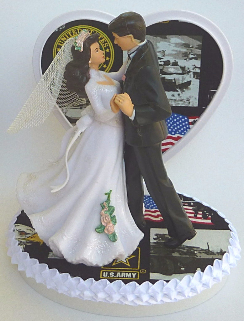 Wedding Cake Topper Us Army Themed Military Couple Dancing