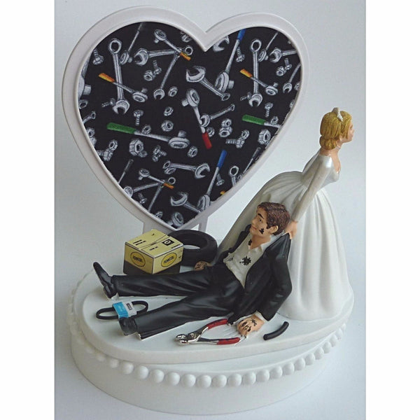 Groom's cake top mechanic Fun Wedding Things grease monkey auto car wedding cake topper funny humor