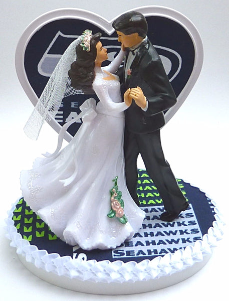 Seattle Seahawks cake topper wedding football FunWeddingThings.com bride groom dance heart background oval base unique