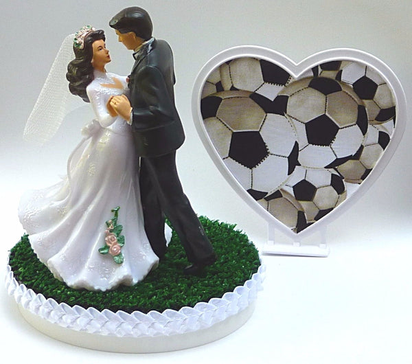 Soccer cake topper wedding FunWeddingThings.com green turf grass bride groom's cake top dancing first dance pretty sports
