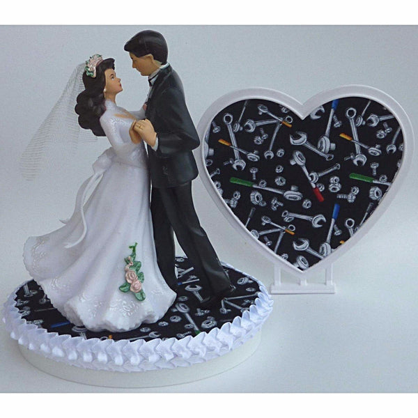 Mechanic wedding cake topper auto car grease monkey FunWeddingThings.com tools wrench fun pretty heart bride groom dancing