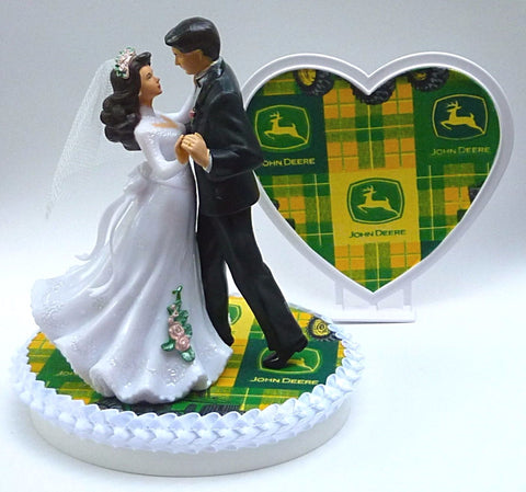 John Deere wedding cake topper FunWeddingThings.com bride groom dancing pretty heart green reception party gift idea