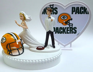 Green Bay Packers wedding cake top groom's topper bride running away football NFL fans funny humorous Fun Wedding Things