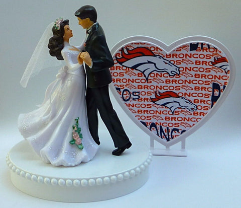 Wedding cake topper Denver Broncos football FunWeddingThings.com pretty bride groom dancing reception gift idea