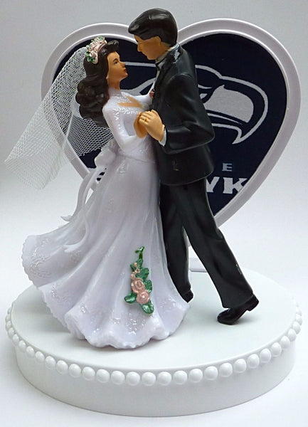 Seahawks wedding cake topper NFL football Seattle first dance couple Fun Wedding Things reception bridal shower gift unique heart