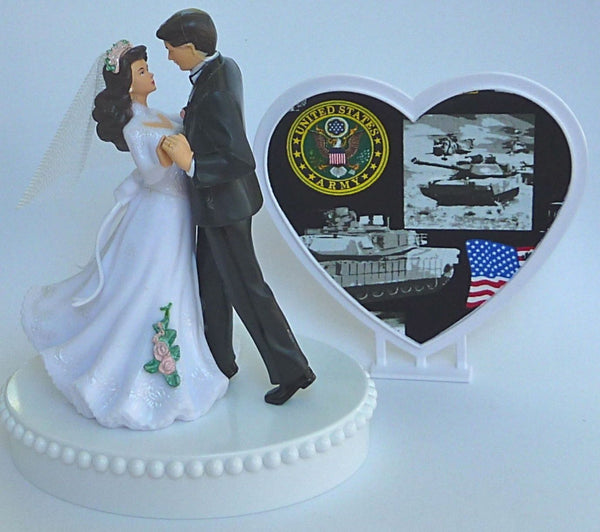 U.S. Army cake topper wedding Fun Wedding Things military service enlisted man woman bride groom reception pretty heart