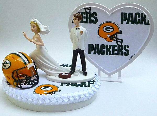 Green Bay wedding cake topper football Packers FunWeddingThings.com bride runaway groom's cake top heart unique reception gift