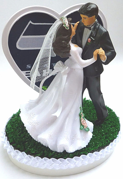 Green turf wedding cake topper Fun Wedding Things Seattle Seahawks football themed NFL sports fans bride groom