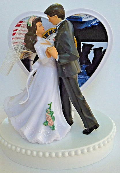 Navy cake topper military FunWeddingThings.com bride groom service enlisted USN reception dancing gift idea