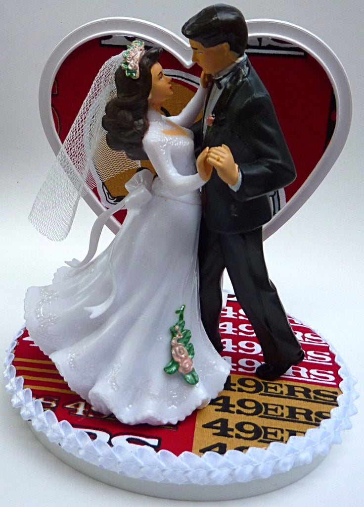 San Francisco 49ers Cake Topper Wedding SF NFL Football Sports Fans Couple Dance Pretty Heart Unique