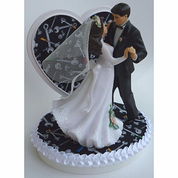 Fun Wedding Things grease monkey auto mechanic wedding cake topper groom's cake top tools wrench fun bridal shower reception gift
