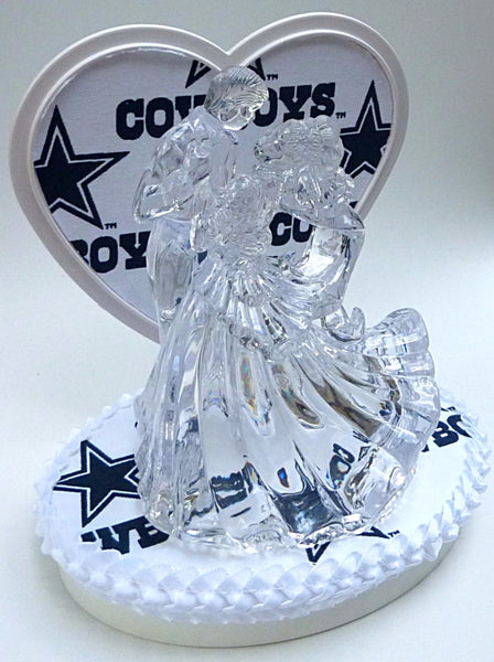 Football cake topper wedding FunWeddingThings.com NFL sports fans bride groom