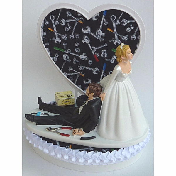 Mechanic cake topper wedding tools garage Fun Wedding Things auto car shop greasy bride dragging groom funny humorous tools shop repair