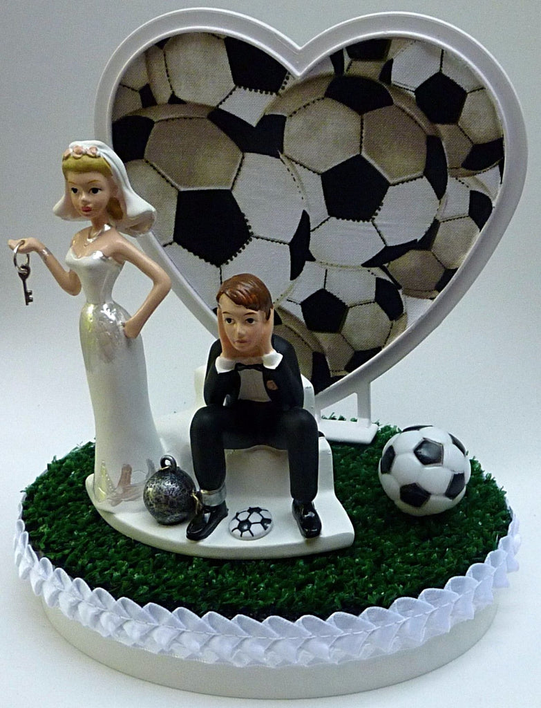 Wedding Cake Topper - Soccer Themed Ball and Chain Humorous Bride ...