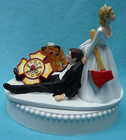 Firefighter cake topper fireman wedding cake top groom's cake fire humorous funny axe uniform jacket shield dragging Fun Wedding Things reception gift idea