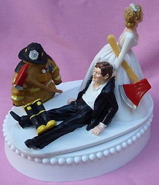 Wedding Cake Topper - Fireman Firefighter Themed Axe Boots
