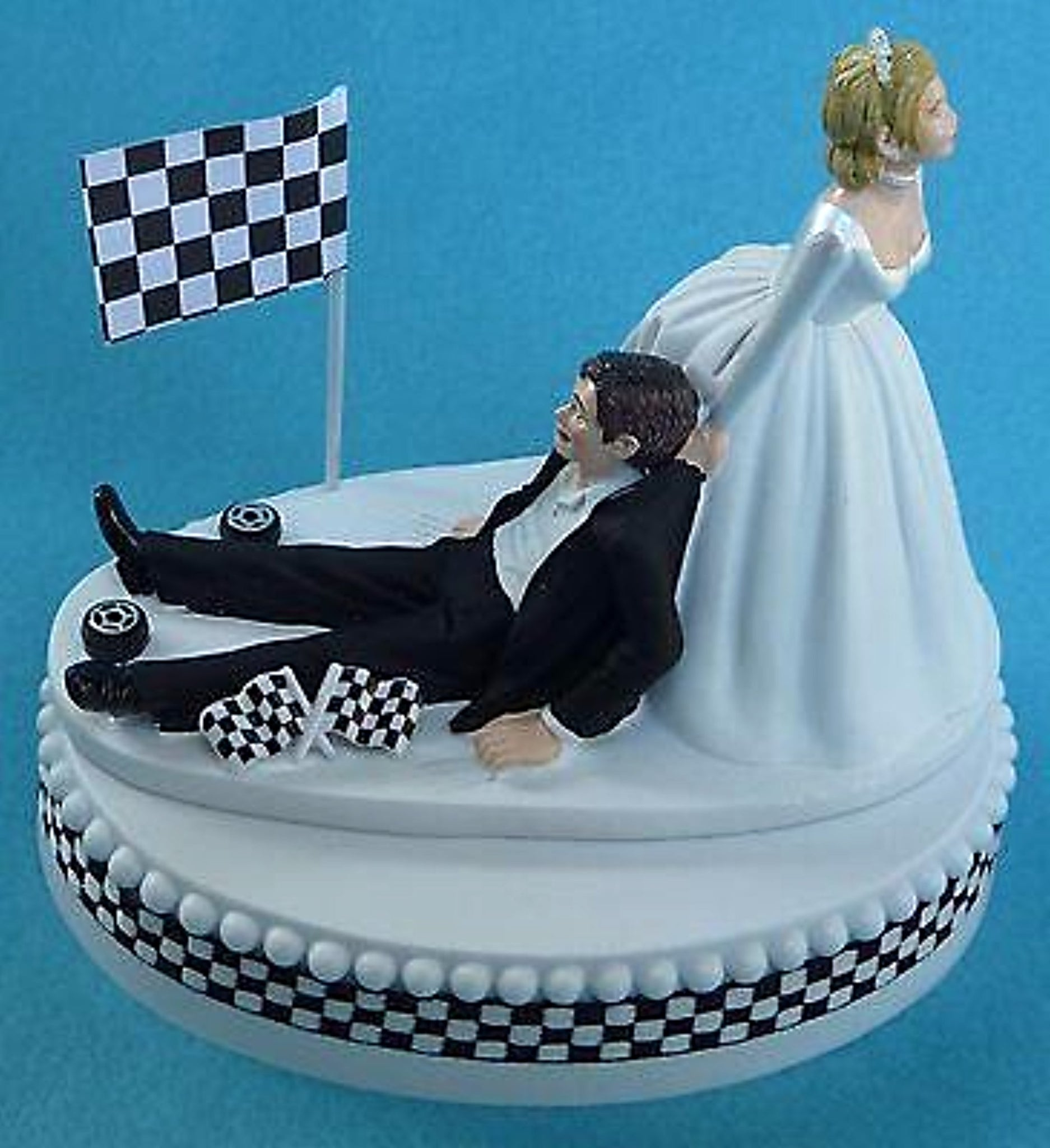 Checkered flag cake topper wedding racing groom's cake fans funny bride dragging groom NASCAR auto sports Fun Wedding Things reception gift idea