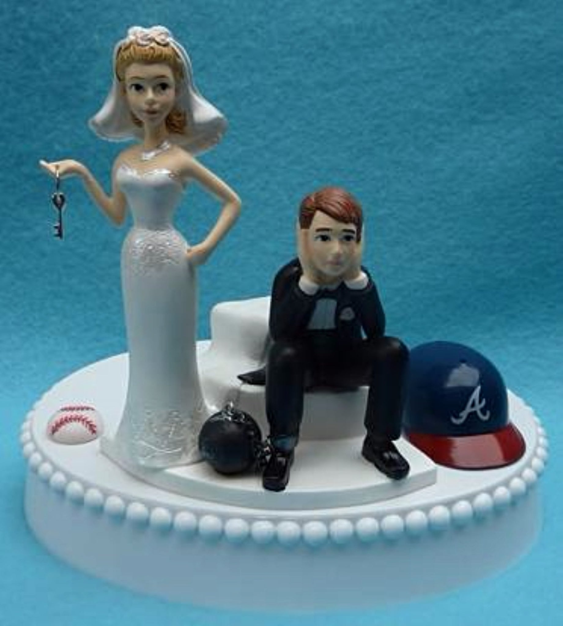 Wedding Cake Topper - Atlanta Braves Baseball Themed Key