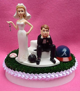 Atlanta Braves cake topper wedding baseball sports fans bride sad groom ball chain key green turf humorous funny