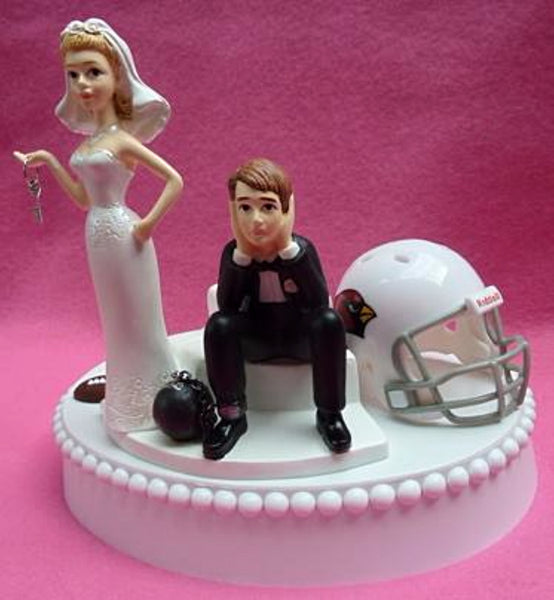 Arizona Cardinals wedding cake topper NFL football fans sports humorous bride dejected groom ball and chain key