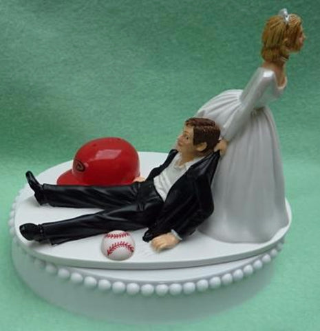 Arizona Diamondbacks wedding cake topper D-Backs MLB baseball fans bride dragging groom humorous funny
