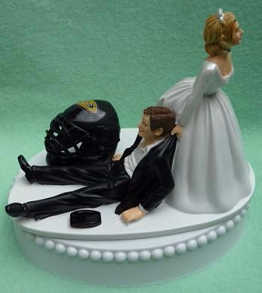 Anaheim Ducks cake topper wedding NHL hockey sports fans fun bride dragging groom's cake top humorous puck helmet blue ice turf reception gift Fun Wedding Things