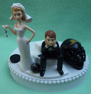 Anaheim Ducks wedding cake topper hockey NHL sports fans fun bride dejected groom ball chain key humorous funny FunWeddingThings.com reception gift item idea