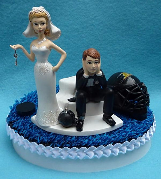 Wedding Cake Topper - Vegas Golden Knights Hockey Themed Key (We DO Have and Will Use the Golden Knights Helmet...)