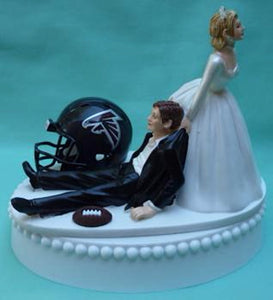 Atlanta Falcons cake topper wedding NFL football reception fun bride dragging groom humorous funny