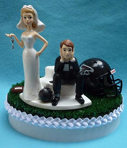 Atlanta Falcons wedding cake topper NFL sports football fans bride dejected groom ball chain key humorous funny reception gift idea item