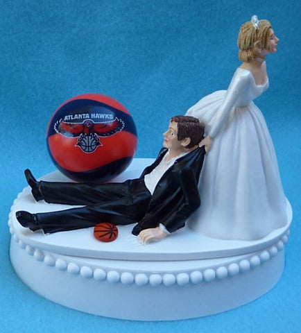 Atlanta Hawks wedding cake topper NBA basketball sports fans fun bride dragging groom humorous funny unique Fun Wedding Things