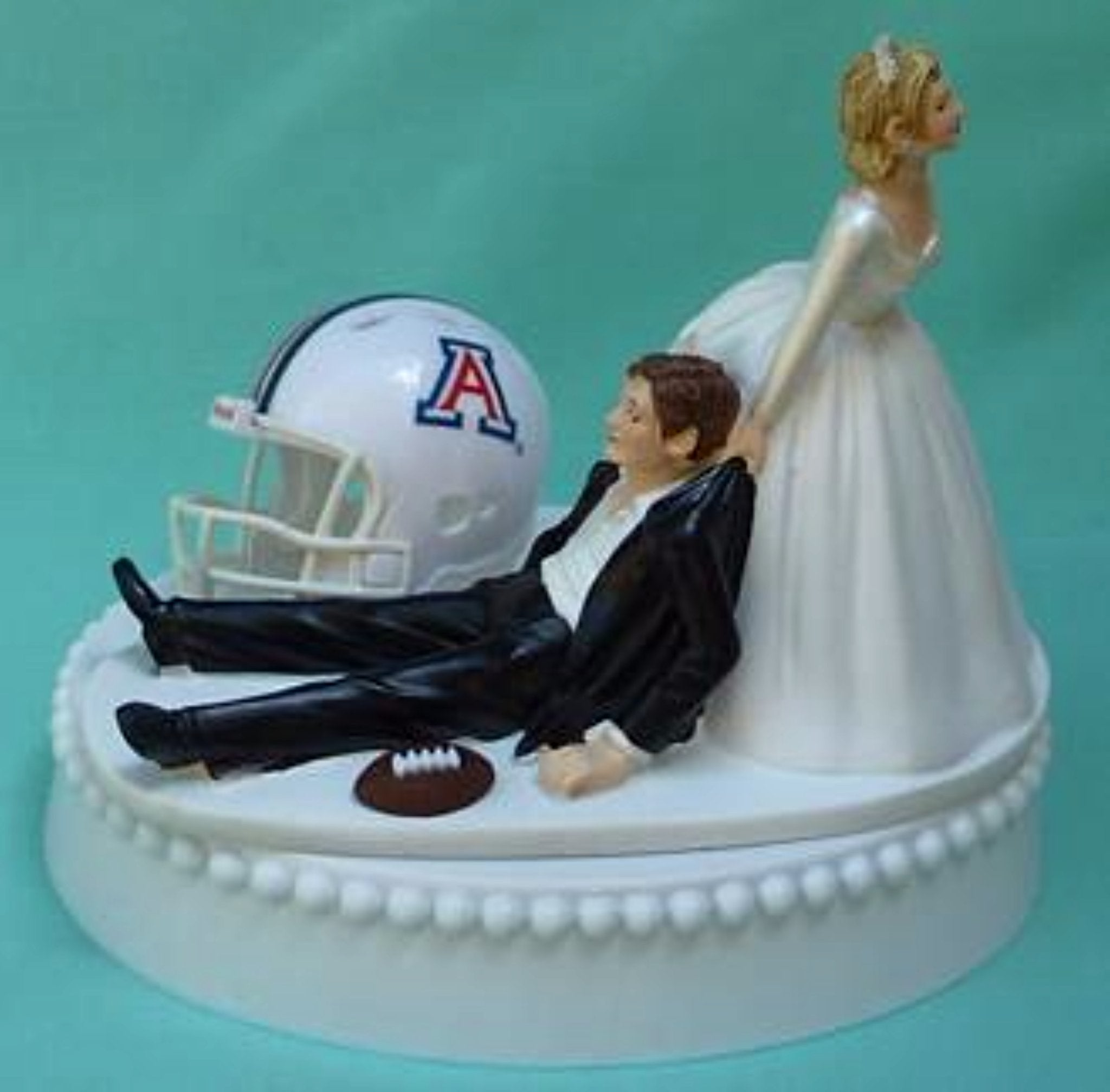 University of Arizona wedding cake topper UA Wildcats football U of A groom's cake top funny bride dragging groom humorous reception Fun Wedding Things gift idea