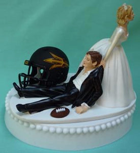 Arizona St. University wedding cake topper ASU Sun Devils football funny sports fans humorous bride dragging groom helmet ball reception gift  FunWeddingThings.com