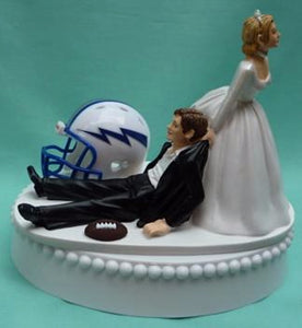 Air Force Academy football wedding cake topper Falcons AF humorous bride dragging groom sports fans fun reception Fun Wedding Things
