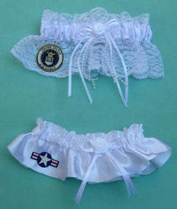 U.S. Air Force garter USAF wedding bridal garters set military enlisted service toss keepsake white satin lace ivory reception Fun Wedding Things