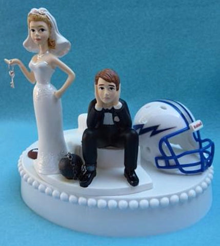 Air Force Academy wedding cake topper AF Falcons football funny humorous groom's cake top bride dejected groom ball chain key humorous sports Fun Wedding Things
