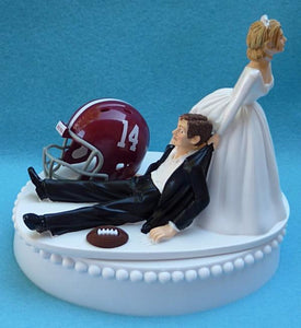 University of Alabama wedding cake topper Crimson Tide football groom's cake top humorous helmet ball green turf funny reception gift Fun Wedding Things
