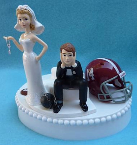 Alabama Crimson Tide cake topper University of football humorous bride sad groom key ball chain funny Fun Wedding Things