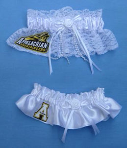 Appalachian St. University wedding garter set bridal garters Mountaineers ASU State white lace satin Fun Wedding Things