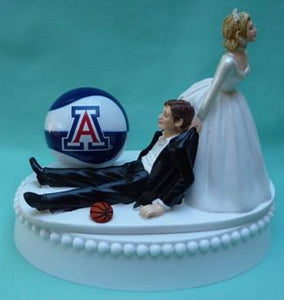 Arizona basketball wedding cake topper University of Wildcats U of A funny bride groom humorous sports Fun Wedding Things
